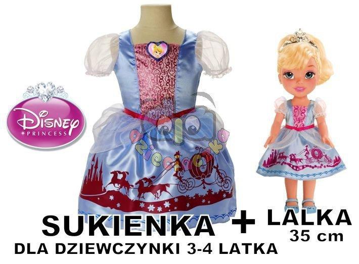 caa7893825 DISNEY lalka Kopciuszek+sukienka dla dziewczynki 3-4 lata KARNAWAŁ ...